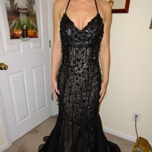 Black, sequined Jovani gown- mermaid fit